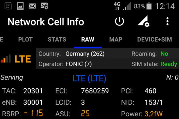 Analyse mit App Network Cell Info