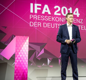 Michael Hagspihl, Geschäftsführer Marketing Telekom Deutschland, auf der Pressekonferenz zur IFA 2014