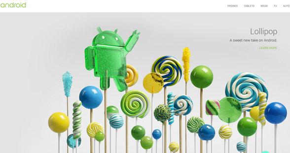 Screenshot von Google Infoseite zu Lollipop