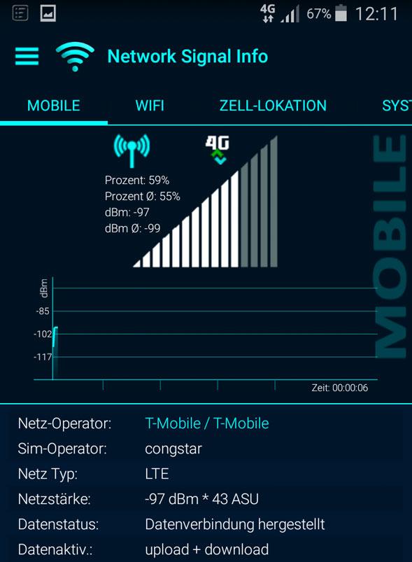 congstar mit LTE in Analyse-App