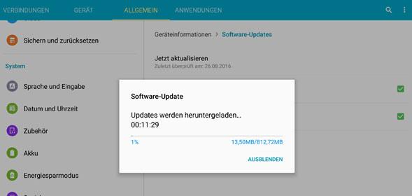 Update des Galaxy Tab S auf Android 6 startet