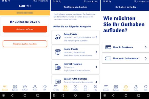 Aldi Talk App zur Verwaltung