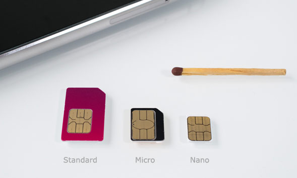 Standard- Micro und Nano SIM im Vergleich