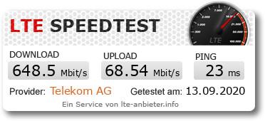 Speedtest mit 5G im Telekomnetz in Leipzig