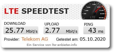 Speedtest mit Ja Mobil und einem LTE-Router