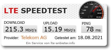 Speedtest mit Speedbox SIM in einem Samsung S20 Ultra über LTE-Anbieter.info